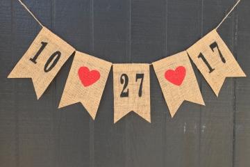 CLASSIC WEDDING DATE Burlap Banner