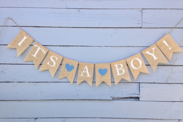 IT'S A... BOY or Girl or Twins Burlap Banner