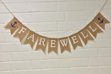 Farewell Burlap Banner