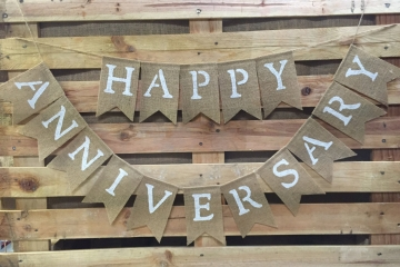 Happy Anniversary Burlap Banner