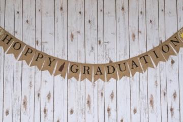 Hoppy Graduation Burlap Banner