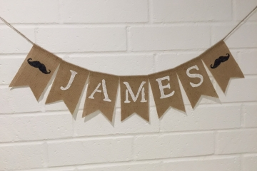 "Moustache Baby Name Banner ""Personalized"""
