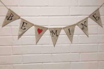 "BE MINE Burlap Banner ""White Washed"""