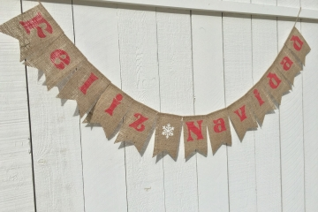 Feliz Navidad Burlap Banner
