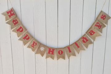 Happy Holidays Burlap Banner