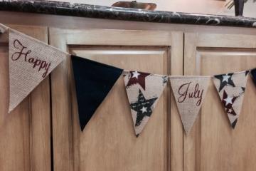 Happy July 4th Burlap Banner