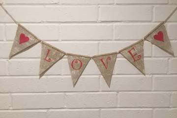 "LOVE Burlap Banner ""White Washed"""