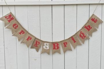 Merry & Bright Burlap Banner