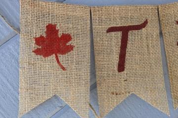 THANKFUL Burlap Banner, Thanksgiving Garland, Holiday Bunting, Rustic Mantel decoration