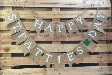 HAPPY St. PATTIE'S DAY Burlap Banner