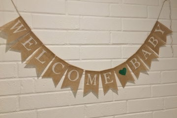 WELCOME BABY Burlap Banner