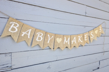 "Baby Makes 3 Banner, or 4 or 5 or 6 etc. ""Contemporary"""